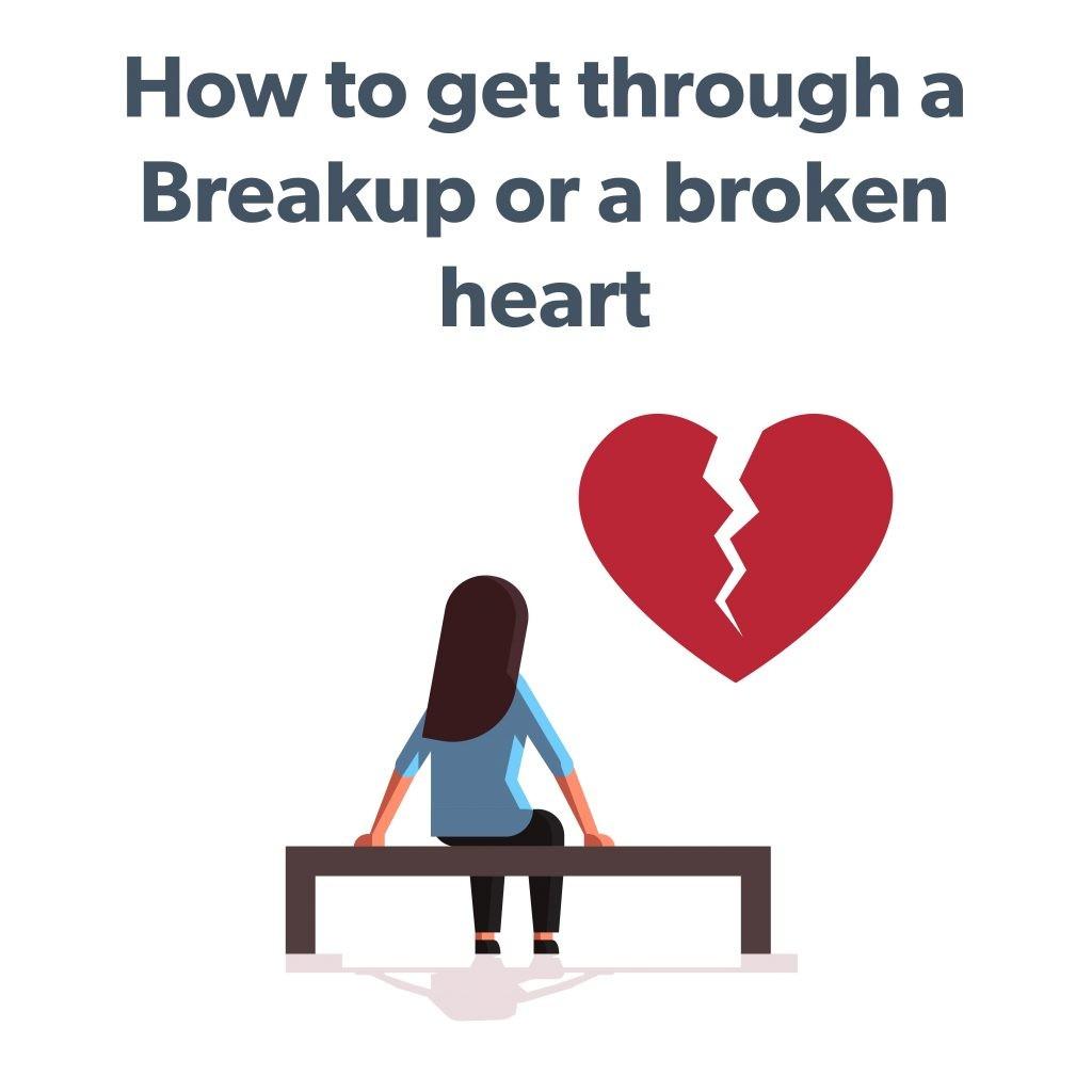 Illustration of woman looking at broken heart