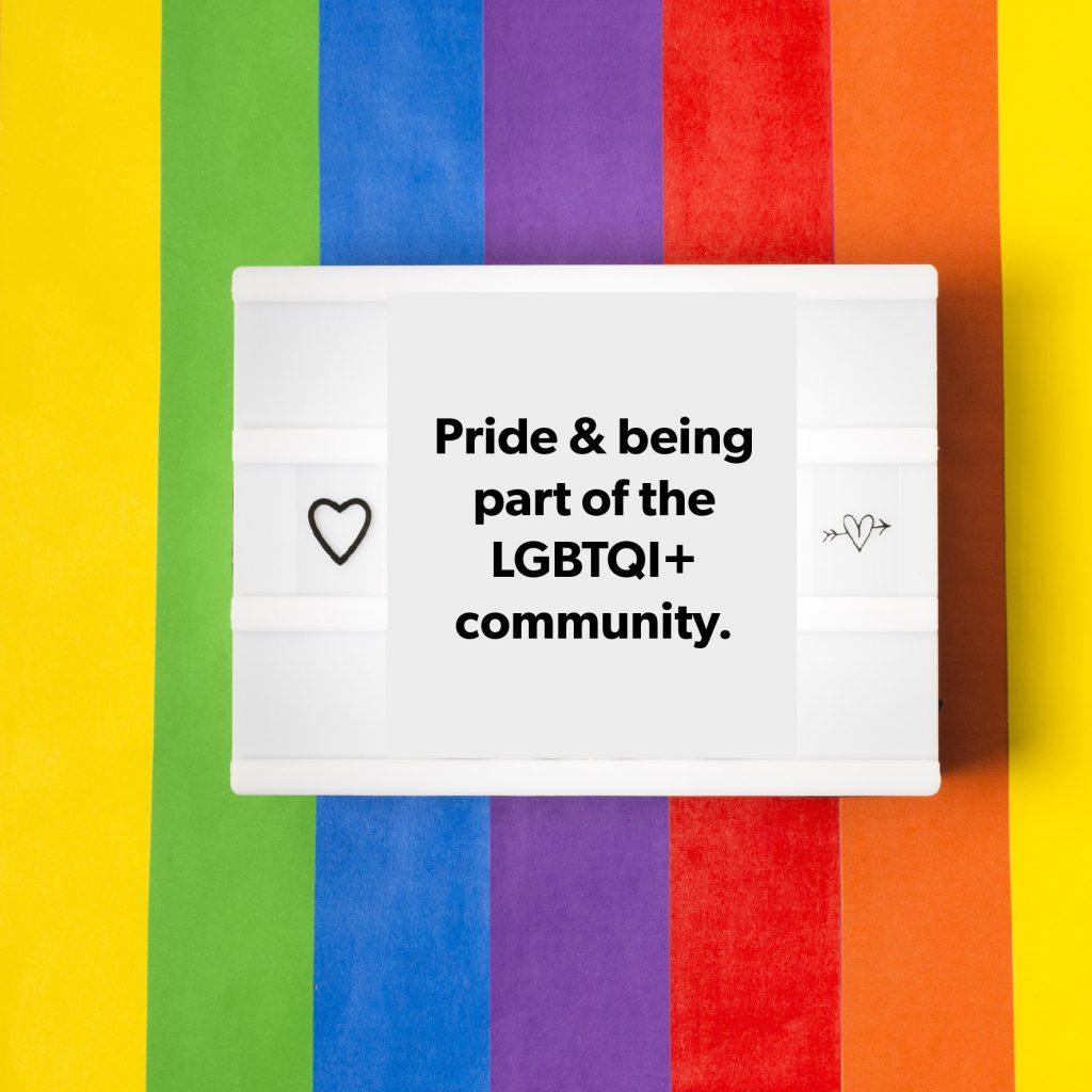 Pride flag and board